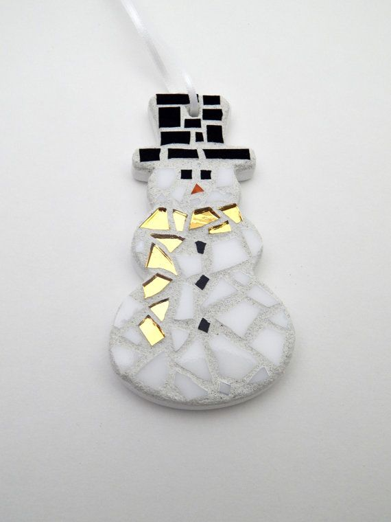 Mosaic Christmas Ornament, Snowman With Gold Mirrored Scarf, Handmade Stained Glass Mosaic Ornament by GreenBananaMosaicCo $20.00