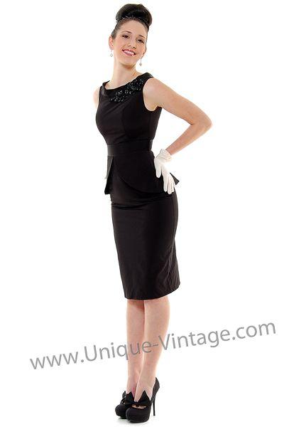 QUEEN OF HEARTZ 1940's Style Black Scoop Neck Beaded Jackie Wiggle Dress - XS to 3X  $154.00