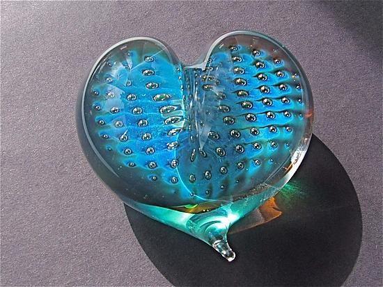 Starry Night Heart Paperweight: Robert Burch: Art Glass Paperweight - Artful Home: Glasses Paperweights, Glasses Heart, Heart Paperweights, Starry Night, Heart Shape, Robert Burch, Night Heart, Paperweights Art, Art Glasses