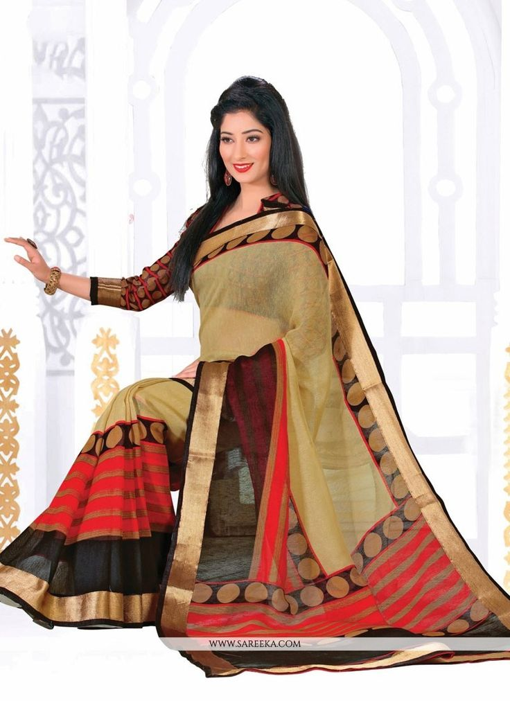 Elegance and honourable come together in this beautiful drape. Make the heads turn when you dress up in this charming beige silk casual saree. This attire is nicely designed with print work. Comes wit...