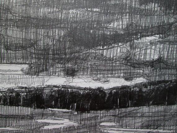 Dusk November End Original Pencil Drawing Stooshinoff by Paintbox