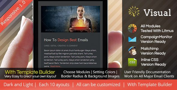 Visual - Responsive Email Template + Builder