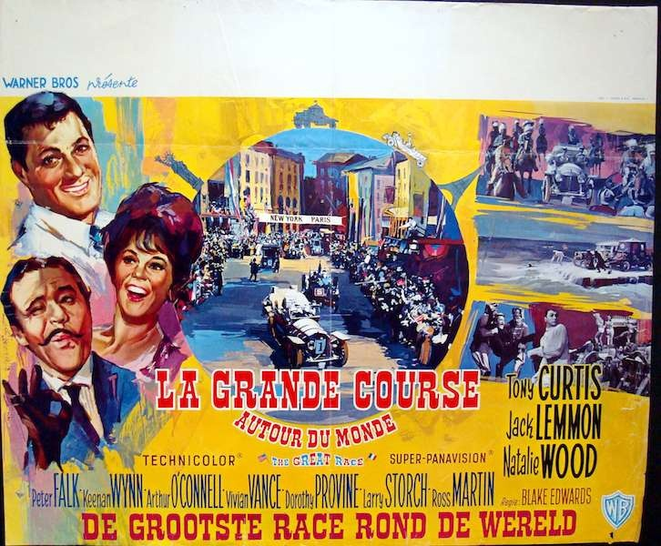 The Great Race Belgian movie poster. Art by Ray (Raymond Elseviers). Natalie Wood. Tony Curtis