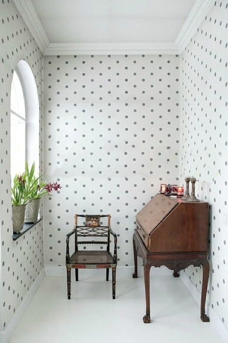 Polka dots, vintage accent pieces. love this for a make up/ powder room