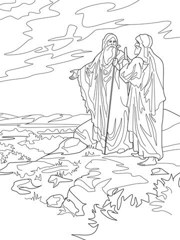 Abraham and Lot Part Ways coloring page from Abraham category. Select from 25020 printable crafts of cartoons, nature, animals, Bible and many more.