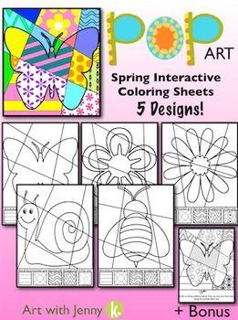 Spring Pop Art Interactive coloring sheets (5 designs + bonus)  $3.00 on TPT