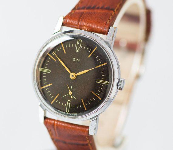Black classic men's watch, vintage gent's watch ZIM, minimalist fashion watch, boyfriend's watch gift, handmade leather strap new