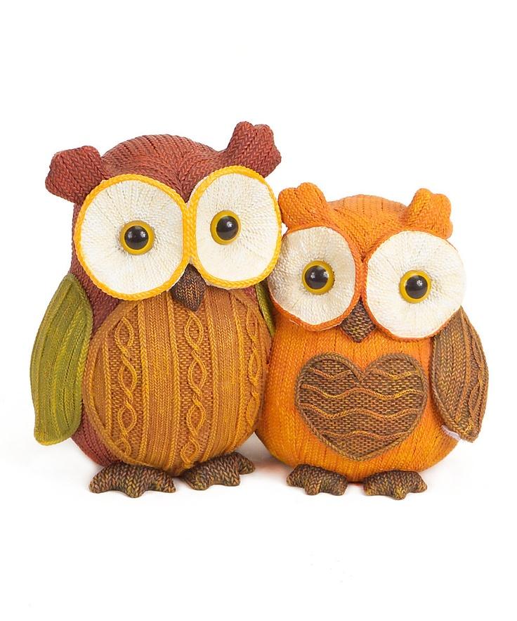 Orange & Brown Owl Pair Figurine on #zulily