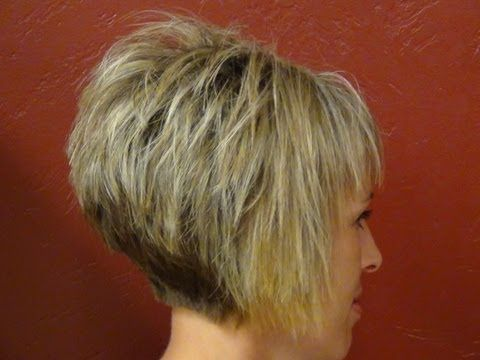 Short Stacked Haircut with Straight Bangs - Girls Hairstyle