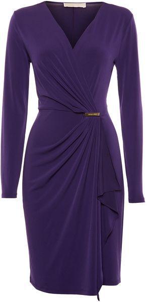 Michael By Michael Kors 34 Sleeve Wrap Dress in Blue (Navy)