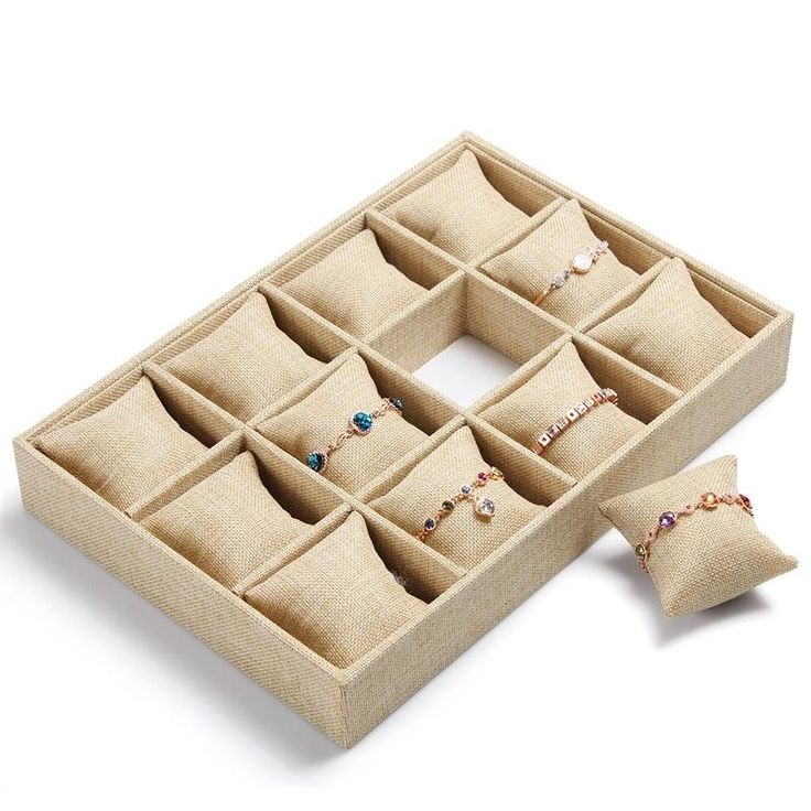 High-end Linen Jewelry Box Bracelet Watch Tray Jewelry Display Stand Holder Boutique Jewelry Storage 12 Grid Small Pillow Tray Online with $47.13/Piece on Marksvi273's Store | DHgate.com