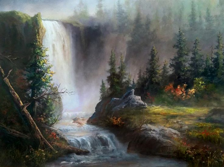 """Cascading Waterfall"" Oil Painting by Kevin Hill  Watch short oil painting lessons on YouTube: KevinOilPainting  Visit my website:www.paintwithkevin.com  Find me on Facebook: Kevin Hill Follow me on Twitter: @Kevin Hill"
