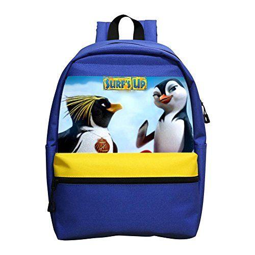Aaronna Surf's Up Cartoon kid's Classic Backpack Unisex Water Resistant School Rucksack Travel Backpack