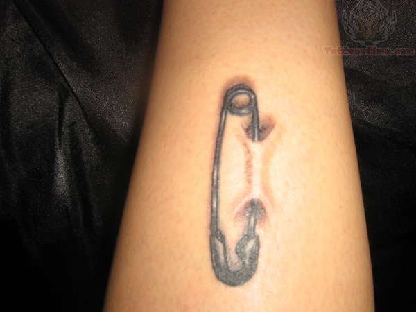 Safety Pin Ripped SKin Tattoos