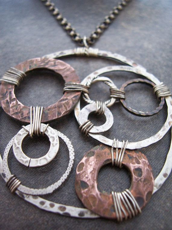 Organic Mixed Metals Steampunk Necklace by dnajewelrydesigns