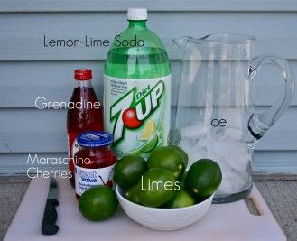 Cherry Limeade  1-2 liter bottle Sprite or 7-up {I used diet}  3/4 cup fresh lime juice  1/4 cup grenadine  maraschino cherries, lime wedges and ice  Mix all ingredients into a large pitcher and serve cold. Garnish with lime wedges and cherries, if desired. Party drink for the kids :) Isn't this a Shirley Temple?