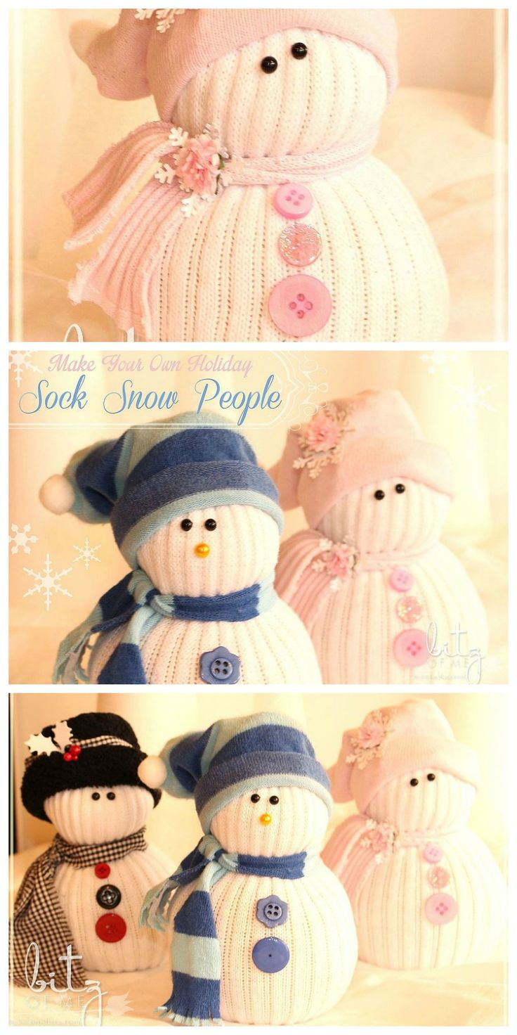 Turn your mismatched socks into cute snow people