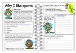 """Six exercises on the topic """"Sports"""": useful words and phrases, guess what kind of sport it is, change the underlined words, fill in missing words, your experience about sports and sports quiz.Thank you!!!  - ESL worksheets"""