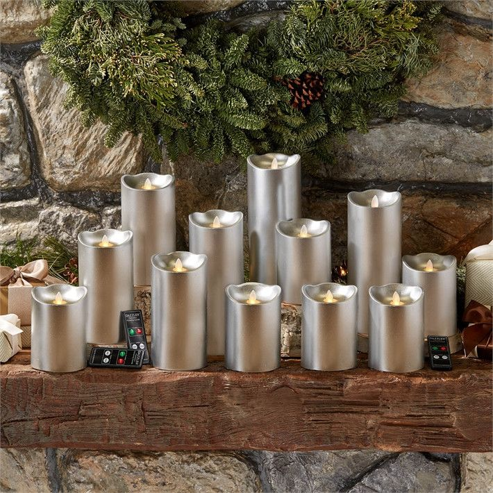 Two's Company 15 Pc Silver Dazzler Twin Light Flickering Flameless Candle Unit Includes 6 pcs with 2 Timer and Remote-Control Options and in Gift Box with 3 Remote Controls - Unscented Wax/Plastic – Modish Store