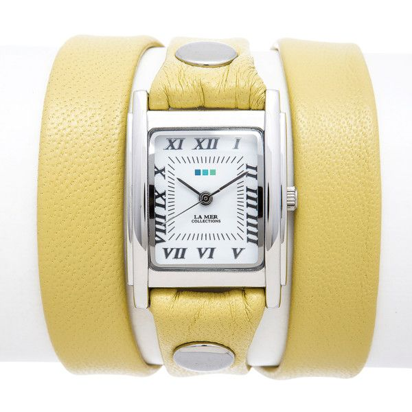 La Mer Collections Canary Silver Square Triple Wrap | Bluefly.Com ($58) ❤ liked on Polyvore featuring jewelry, watches, yellow, handcrafted jewellery, yellow jewelry, wrap watch, la mer watches and square wrist watch