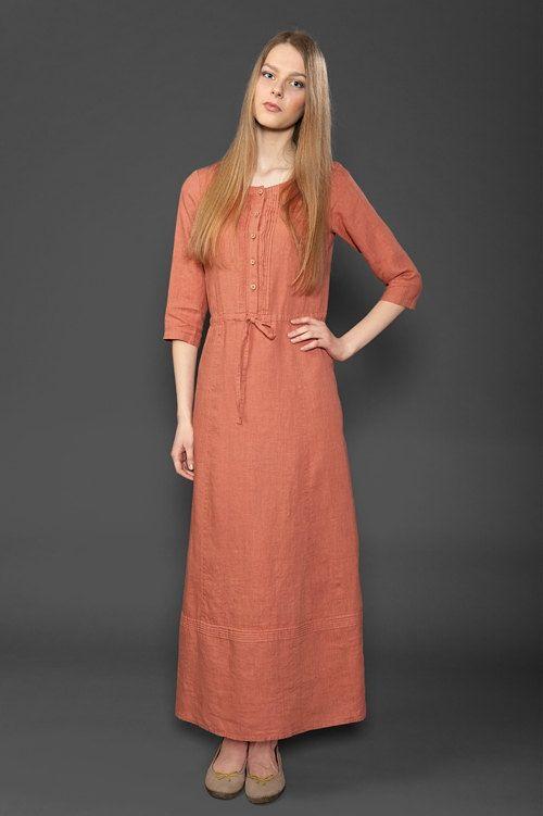 Long Linen Summer Dress in coral red 100% linen by LinenSupplies