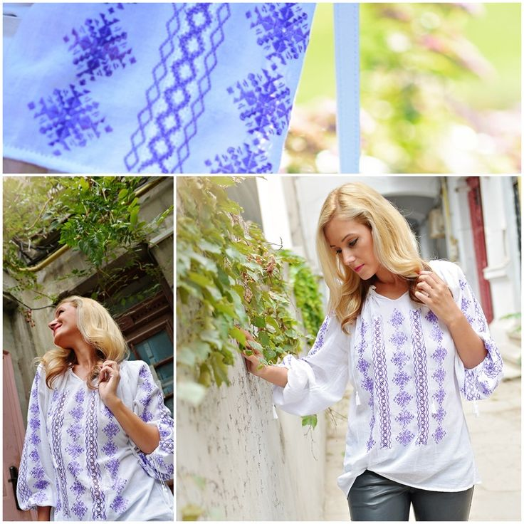 Purple Romanian blouse<3 #handmade #outfitoftheday