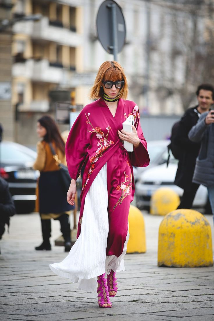 70+ Photos Of Milan's Most Over-The-Top Street Style #refinery29  http://www.refinery29.com/2016/03/104781/milan-fashion-week-fall-winter-2016-street-style-pictures#slide-40  For an unexpected layering piece this spring, try a kimono or silk robe as a light jacket on warm days....
