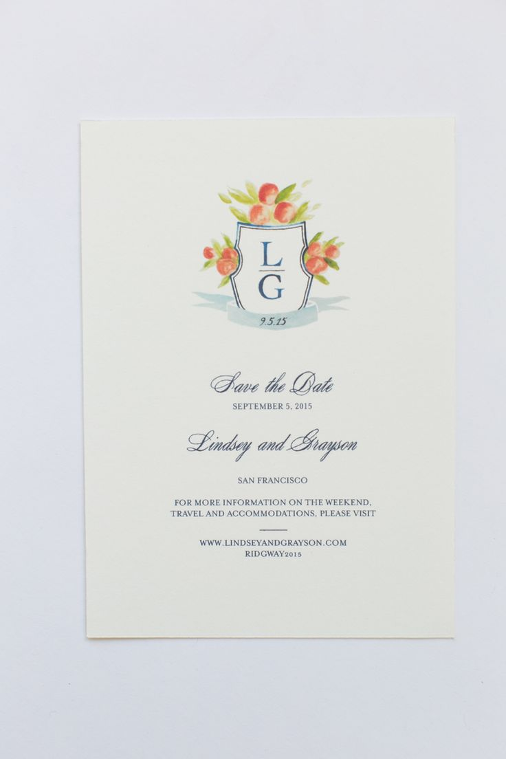 Yonder Design | Custom Event Design, Wedding Inspiration, Custom Invitations, Unique Invitation, Letterpress, Graphic Design, Peach Crest, Modern Wedding, Clean Design, Elegant, Navy and Peach, Reply Card, Watercolor Monogram, Floral, Hand Painted