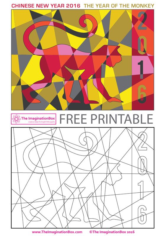 The ImaginationBox: celebrate Chinese New Year 2016, year of the monkey with this challenging 'hidden modern art monkey' free printable coloring template.
