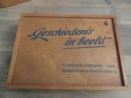 Oude Schoolstempel Houten Kist Geschiedenis 4