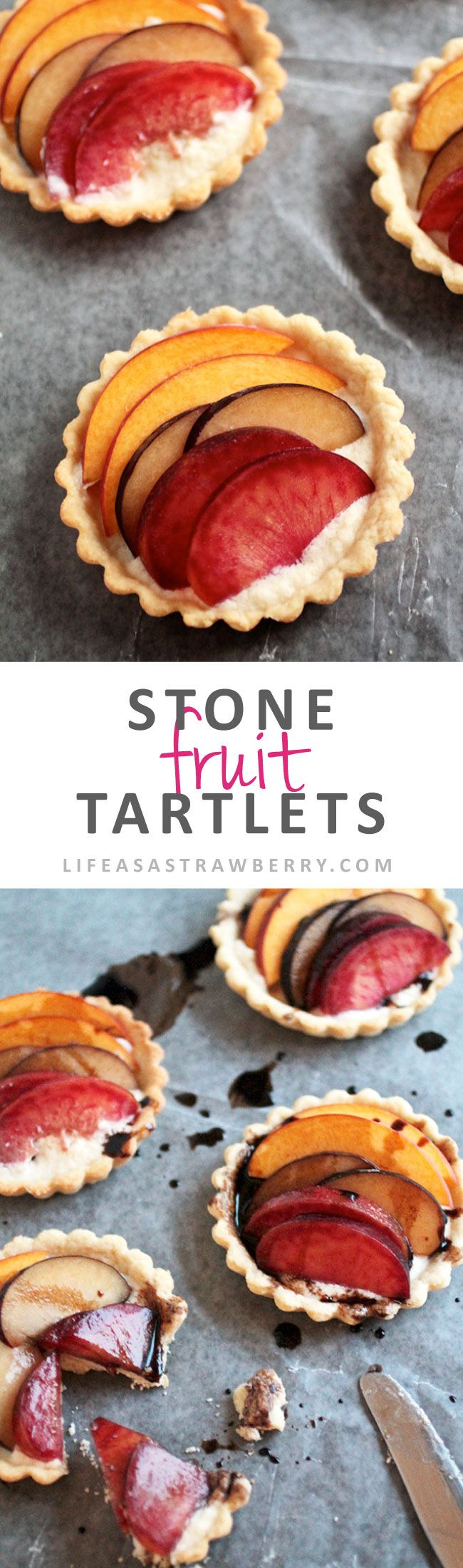 Stone Fruit Tartlets | Homemade pie crust, delicious marscapone cheese and seasonal stone fruit topped with a tasty balsamic drizzle. The perfect healthier dessert recipe for summertime!