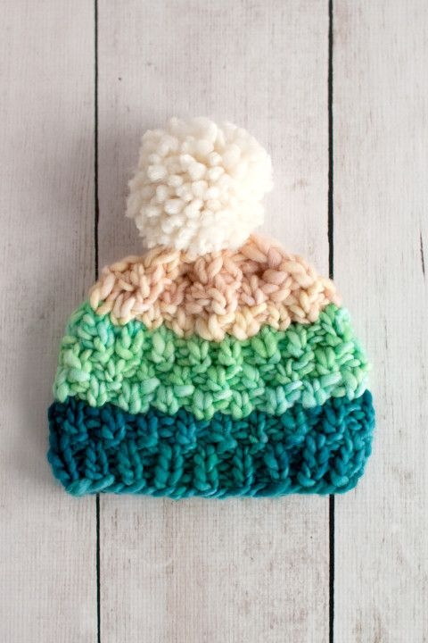 Simple Bulky Moss Stitch Baby Hat free pattern from Fairmount Fibers for Manos del Uruguay Franca