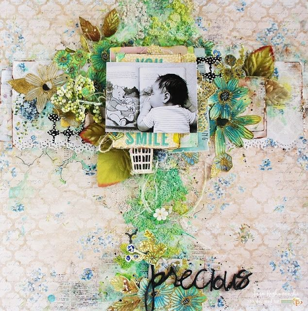 Stunning mixedmedia layout made with Alice's Dreams collection. scrapbooking Studio 75