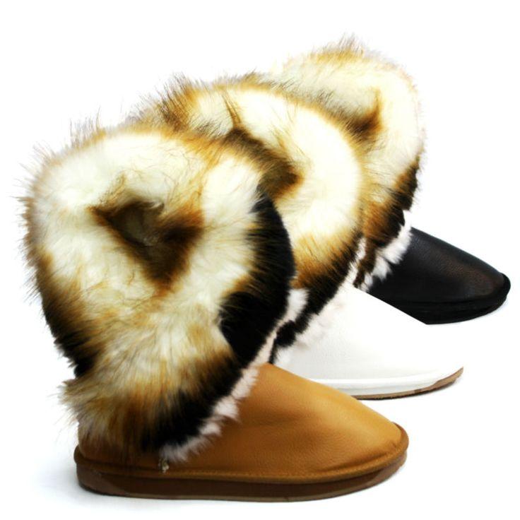WARM GEFÜTTERT Winter Neu Damen Schuhe Boots Stiefeletten Asymmetrisch Kunstfell