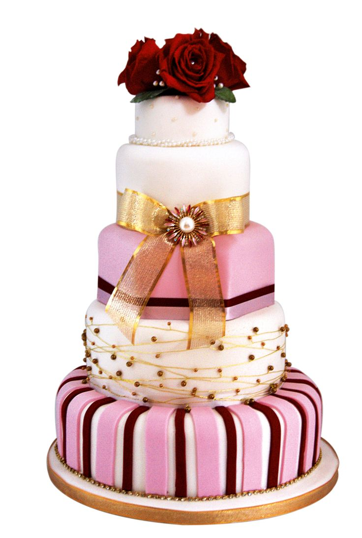 Red and gold tiered cake, Wedding Cakes by Lisa Broughton, Rs 57,000; Weddingcakesbylisabroughton.co.uk
