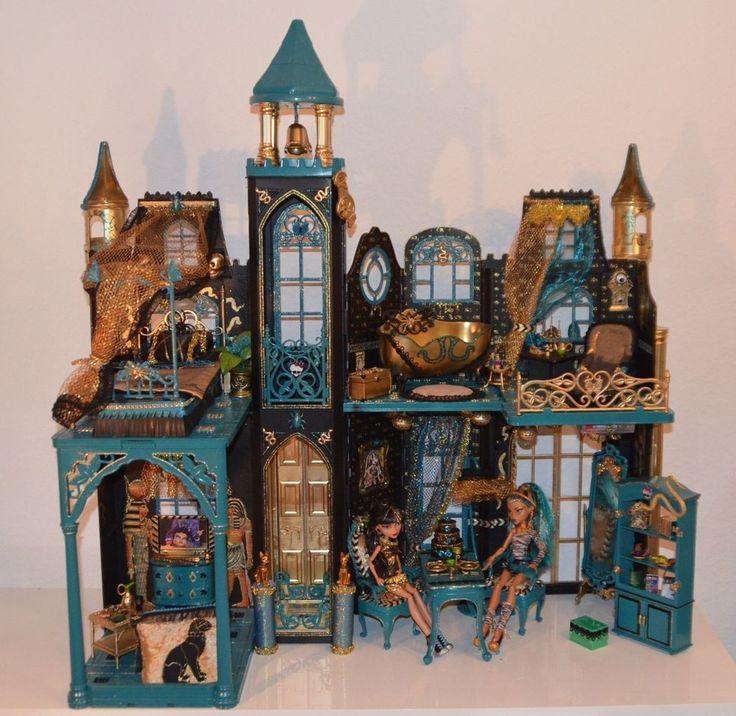 OOAK Unikat Monster High Schloß Haus für Cleo mit Licht, Möbel, Zubehör