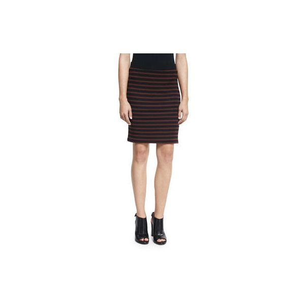 Atm Anthony Thomas Melillo Striped Jersey Pencil Skirt ($117) ❤ liked on Polyvore featuring skirts, jersey pencil skirt, striped jersey, stripe pencil skirt, jersey skirt and knee length pencil skirt