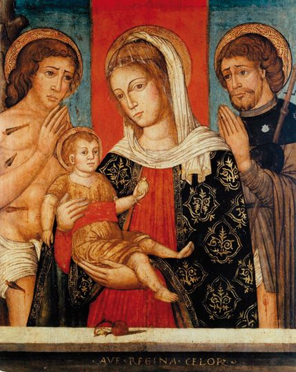 Ignoto veneto Madonna con Bambino e i santi Sebastiano e Rocco sec. XVI Breno, Camus