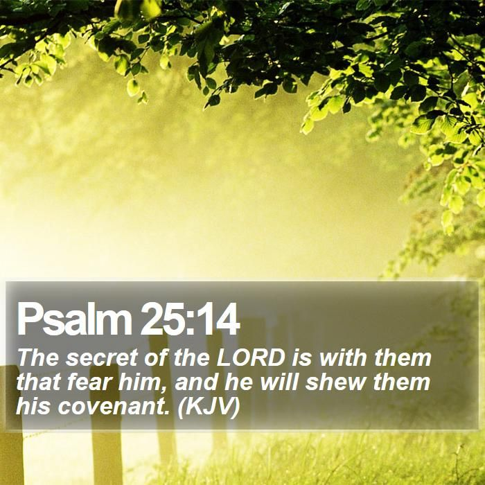 Psalm 25:14 The secret of the LORD is with them that fear him, and he will shew them his covenant. (KJV)  #Landscapes #Theology #PraiseGod #CreationOfGod http://www.bible-sms.com/