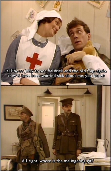 Lieutenant George in the hospital. (Blackadder)
