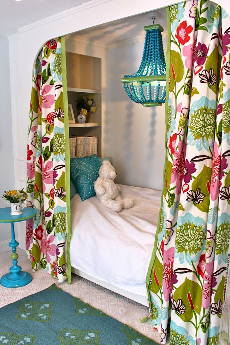 South Shore Decorating Blog: Tween Girls' Bedroom Reveal in Pink, Blue, and Floral With Built in Bed and Painted Desk (And Source List)