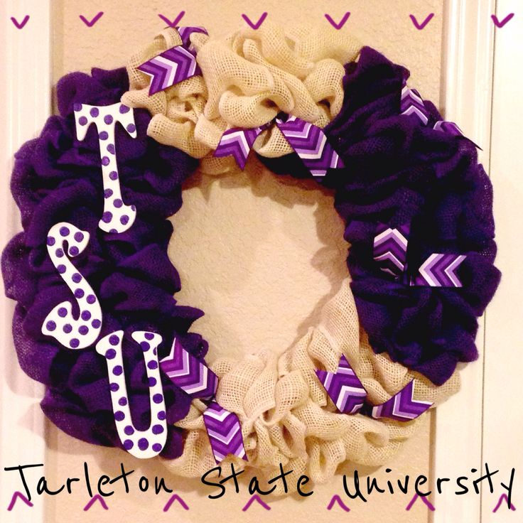 Tarleton State University burlap wreath! #DIY