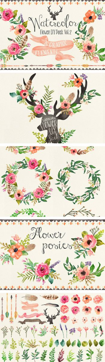 Stunning watercolor floral graphics