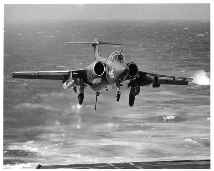 A Buccaneer of 809 NAS about to land on HMS Ark Royal