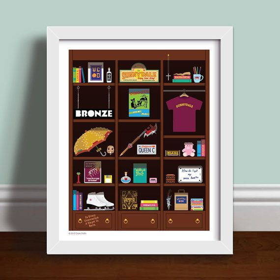 Buffy Bookcase - Buffy The Vampire Slayer Art Print Poster This charming bookcase is full of amazing replica objects featured in the show Buffy The Vampire Slayer! From Buffy's beloved Stuffed pig Mr Gordo to Cordelia Chase's personalised number plate - this is a truly sentimental print for all BTVS fans!