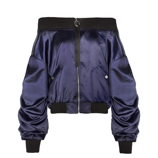 Navy Crop OTS Bomber Jacket (845 MAD) ❤ liked on Polyvore featuring outerwear, jackets, flight jacket, blue bomber jacket, fleece-lined jackets, blue jackets and navy blue jacket
