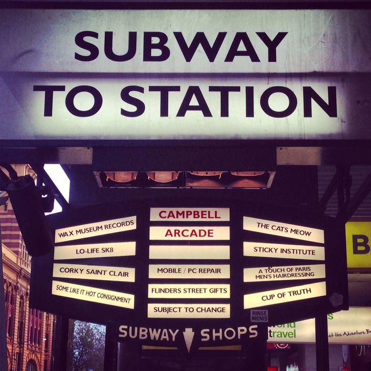 Subway signage on Flinders St, Melbourne
