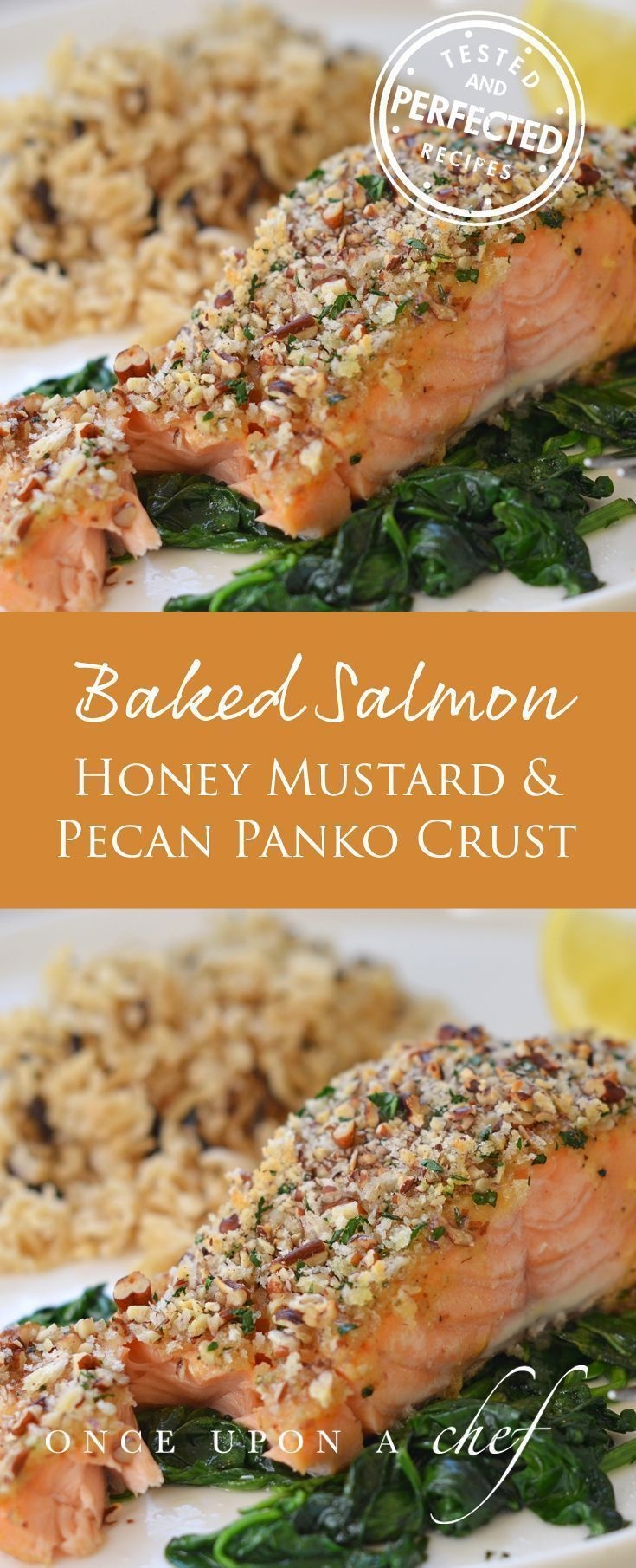 Baked Salmon with Honey Mustard and Pecan Panko Crust (Healthy Baking Dinner)
