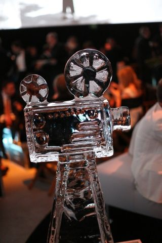 A film projector ice sculpture