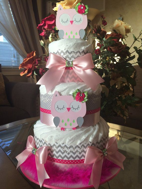 Owl diaper cake/Pink grey and green owl diaper by InspiredbyElena